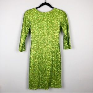 ASOS Backless Sequin Mini Dress Green Size 6
